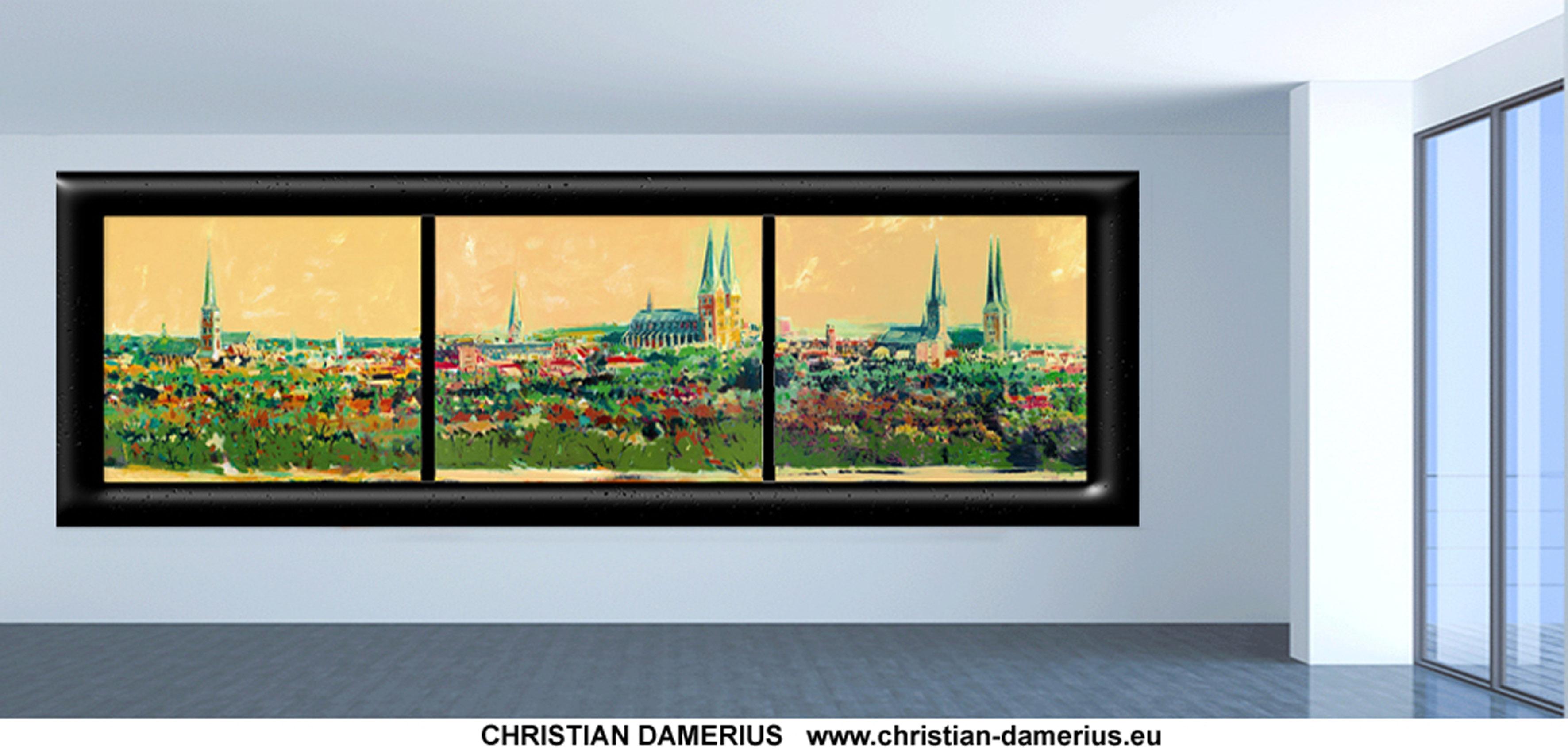 lübeck silhouette,stadt lübeck,lübeck kunstdrucke,gemälde,kaufen,lübeck dom,marienkirche,
