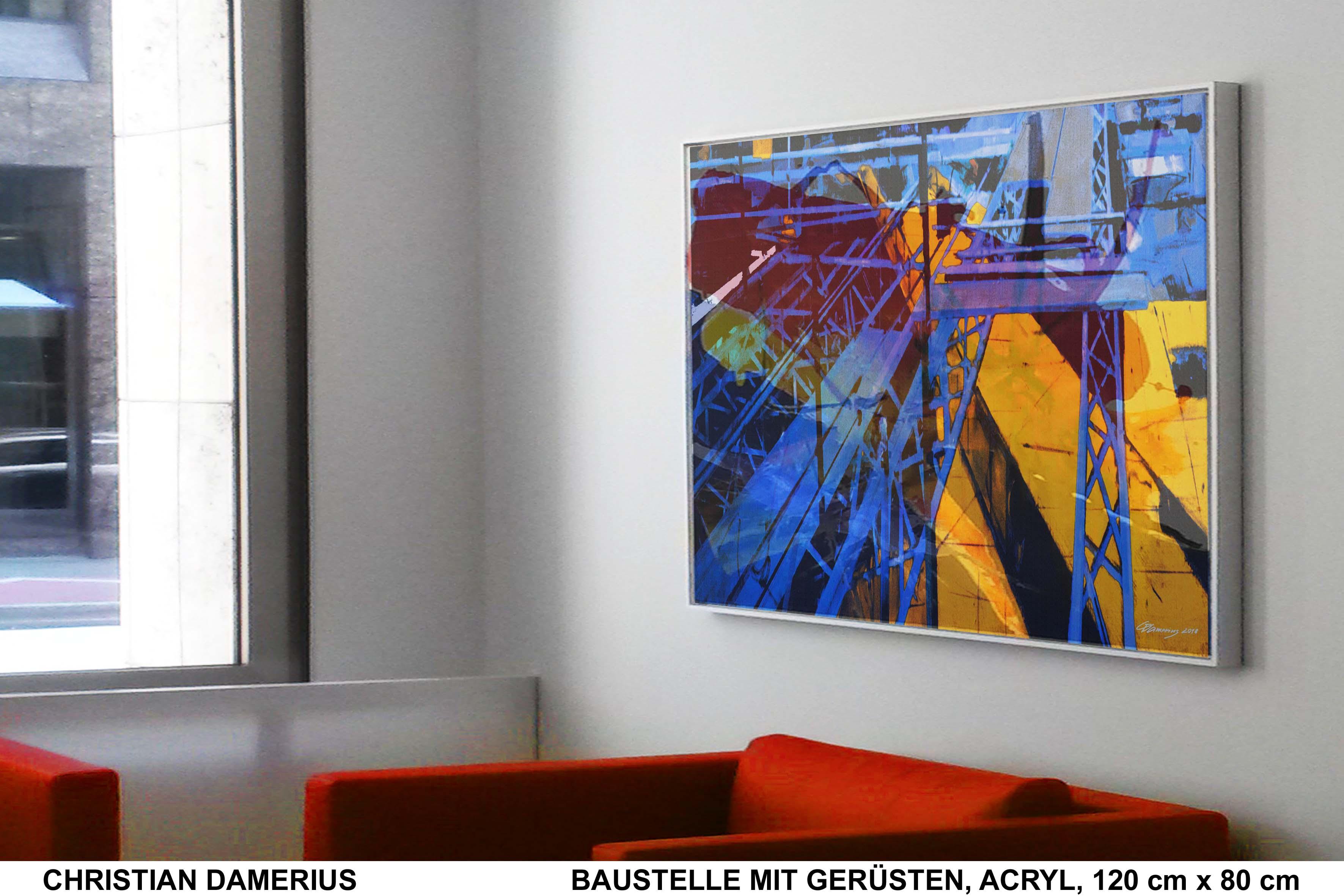 baustelle mit gerüsten,christian damerius,kunstdrucke,gemälde,originalmalerei baustellen,moderne malerei,bekannte moderne deutsche maler,bilder für büros,wohnzimmer,arbeitsplätze,privatsammlungen,