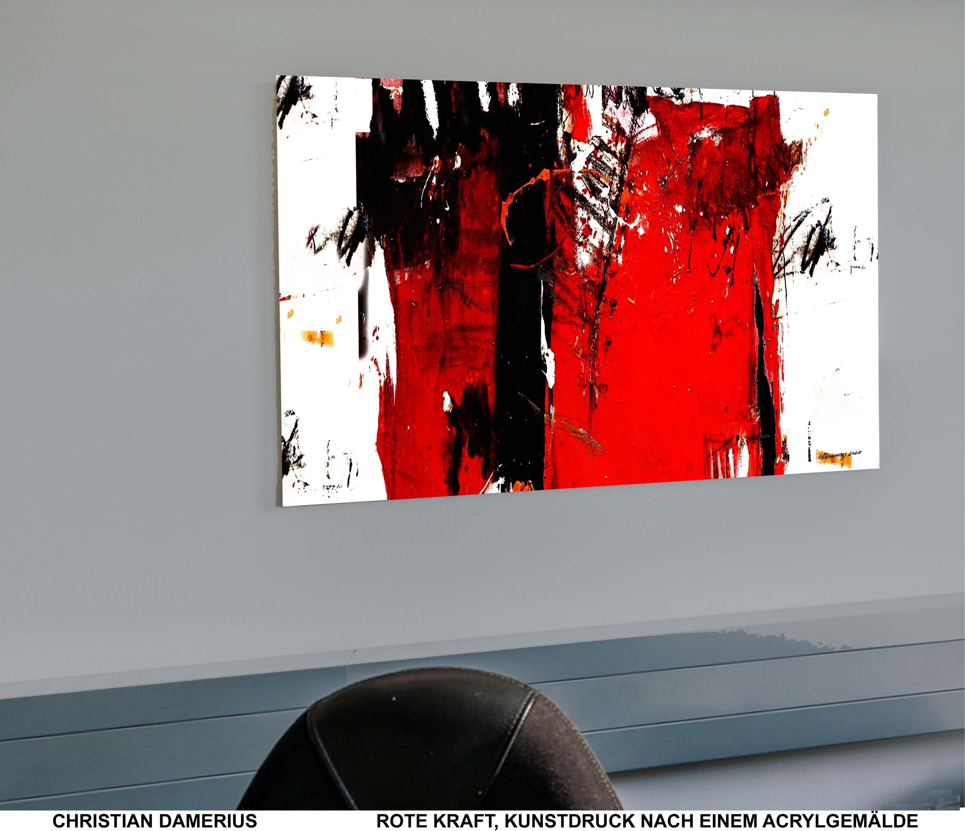 rot,kraft,kunstdruck,malerei,christian damerius,moderne deutsche maler,bilder für büros,wohnräume,wohnzimmer,kaufen,